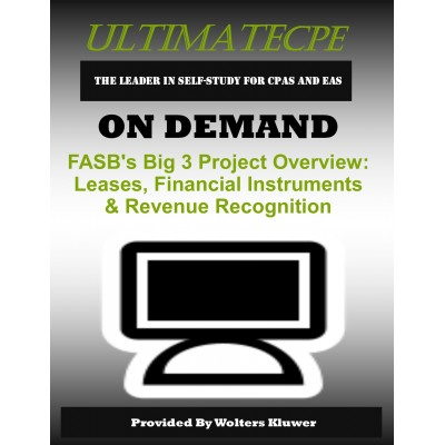 FASB's Big 3 Project Overview: Leases, Financial Instruments & Revenue Recognition